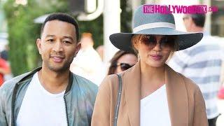 John Legend & Chrissy Teigen Lunch At La Scala & Go Shopping At Alo Yoga In Beverly Hills 6.22.16