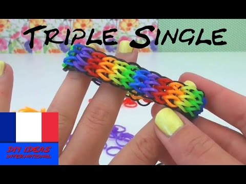luxe vente énorme prix Bracelet élastique sans machine TRIPLE SINGLE Rainbow Loom en français  tutorial