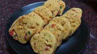 Eggless tutti fruit biscuits  (karachi biscuits )