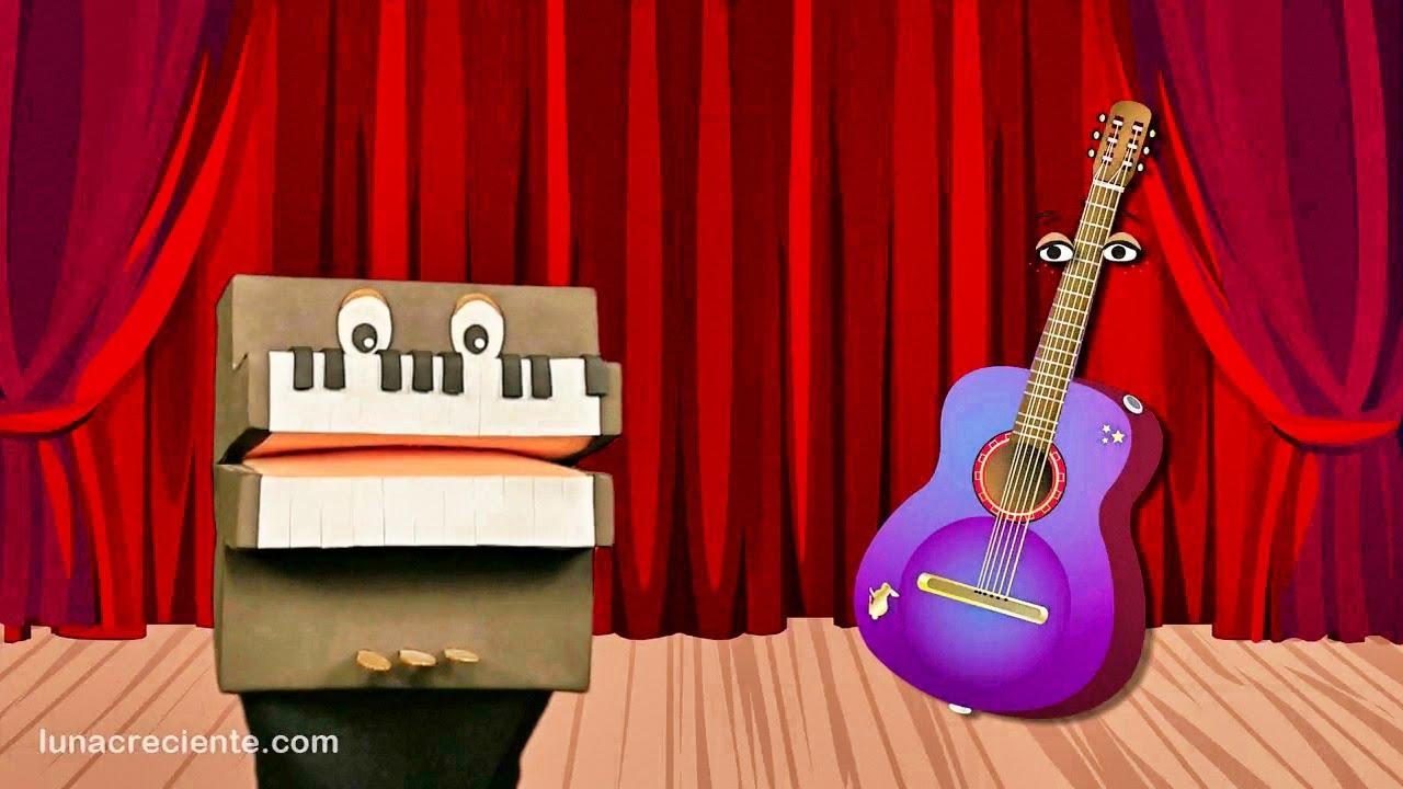 Enseñando los Instrumentos Musicales a los Niños - La Guitarra Acústica - Videos infantiles