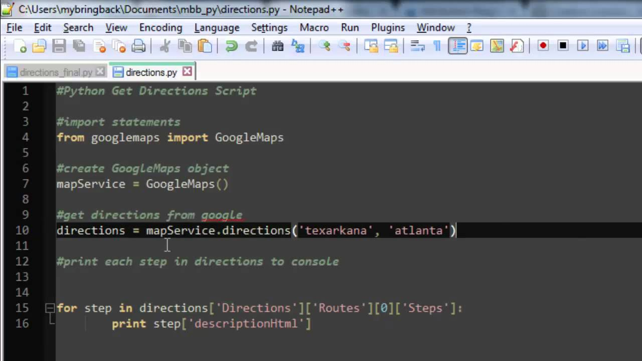 learn python programming tutorial 24 | getting directions google