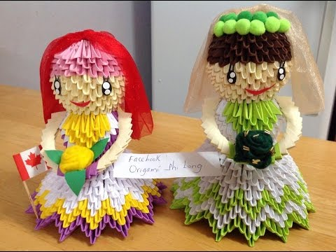 how to make origani 3d bride or doll tutorial youtube