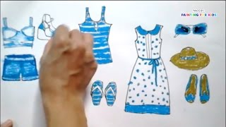 How to draw fashion clothes for kids | How to draw dresses for kids | Art for kids