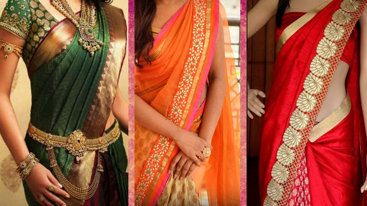 300ffbee343 3 Different Ways of Wearing Saree to Look Slim with Perfect Thin Pleats