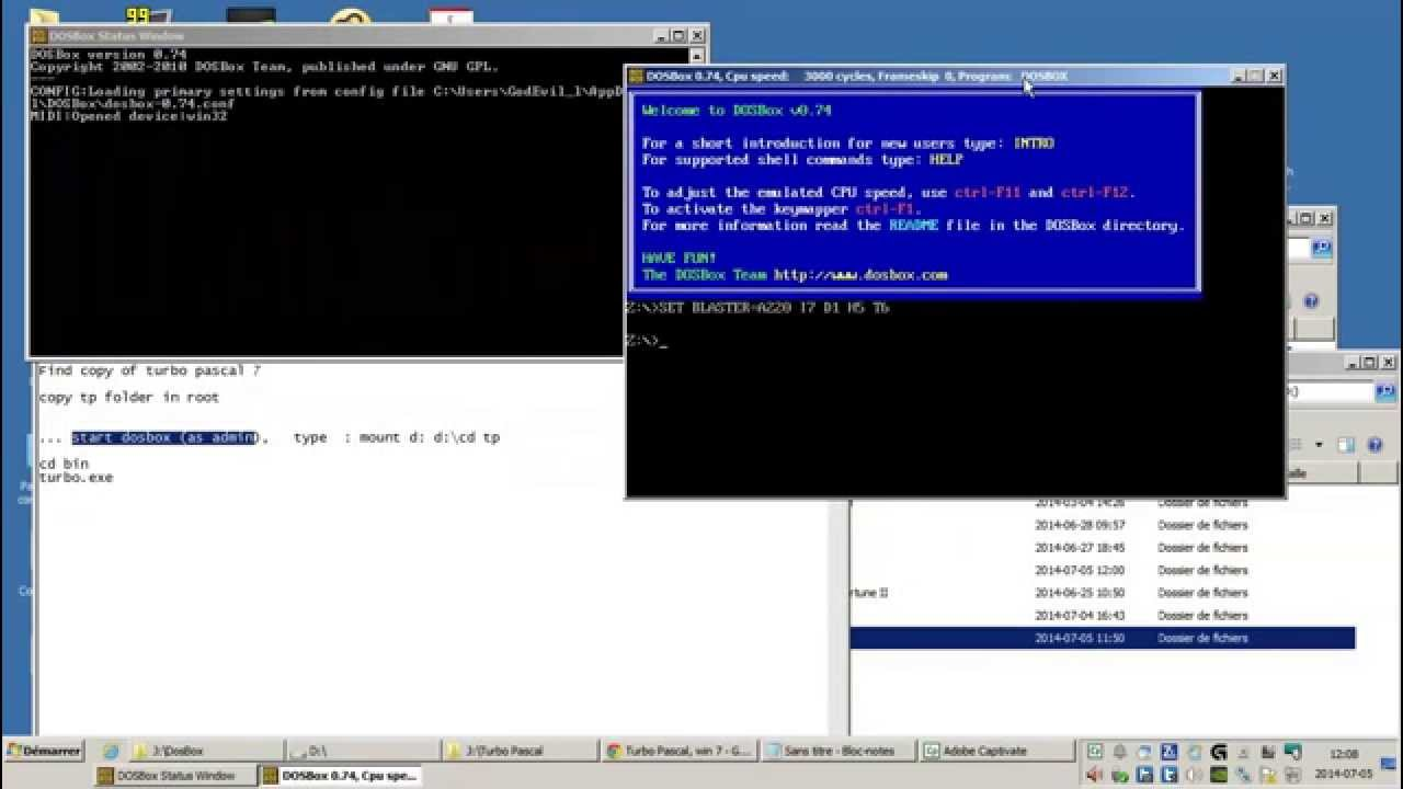 install Turbot pascal - windows 7 - dosbox