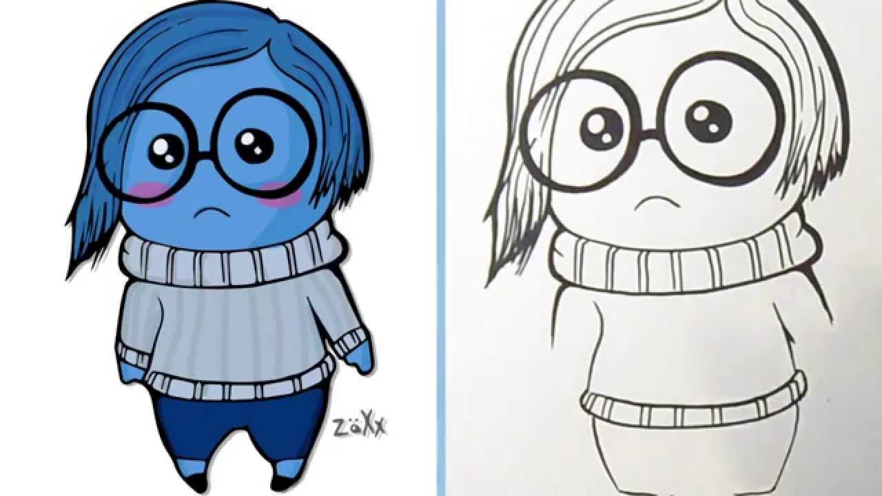 Comment dessiner tristesse bleu vice versa inside out youtube - Dessins triste ...