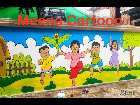 Meena Cartoon Wall Painting 2019