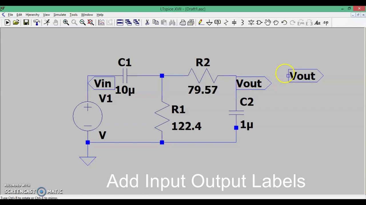 Rc Passive Band Pass Filter On Ltspice Software Simulation Youtube