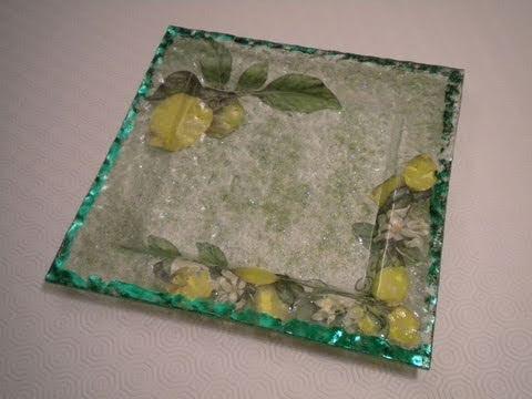 Tutorial decoupage su piatto in vetro con vetrificazione for Decoupage su vaso di vetro