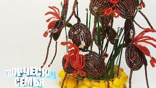 """Цветы из бисера """"Орхидея Дракула"""",подробный МК, Бисероплетение✔️Beaded flowers, Orchid Dracula"""