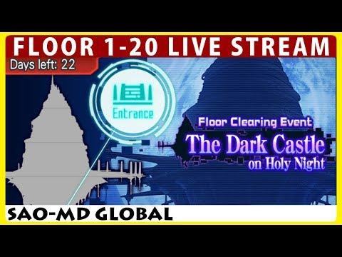 The Dark Castle on Holy Night Floor 1-20 Live Stream (Sword Art Online Memory Defrag)