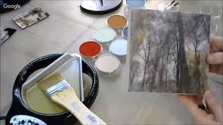 Лес на закате, микс медиа энкаустика, восковой медиум и панпастель: видео урок Натальи Жуковой