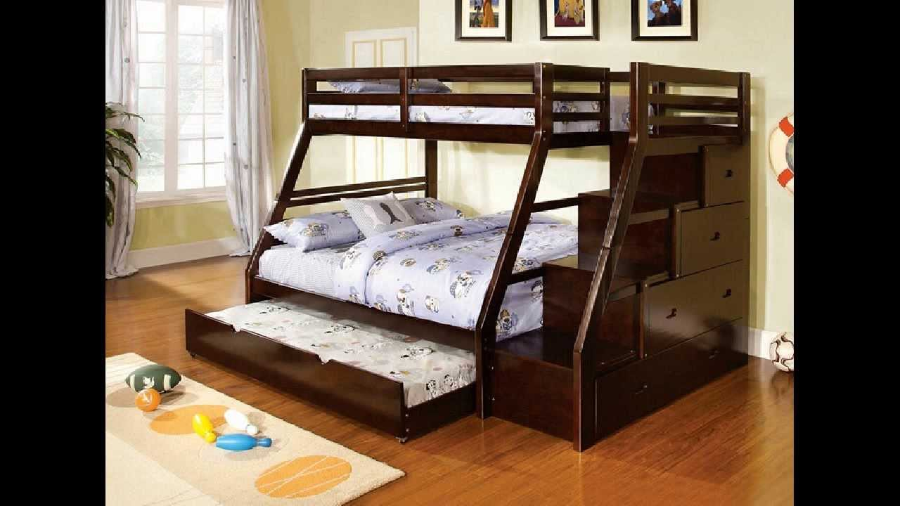 Ellington dark walnut finish wood Twin over Full bunk bed with staircase  end - YouTube - Ellington Dark Walnut Finish Wood Twin Over Full Bunk Bed With