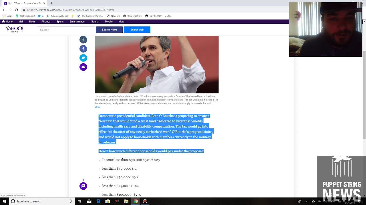 Puppet String News Beto O'Rourke using current/former military to push new tax on American peop
