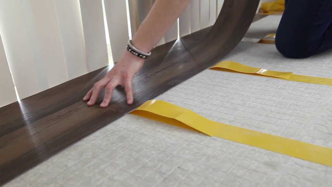 How to install vinyl plank flooring using double sided tape youtube dailygadgetfo Image collections
