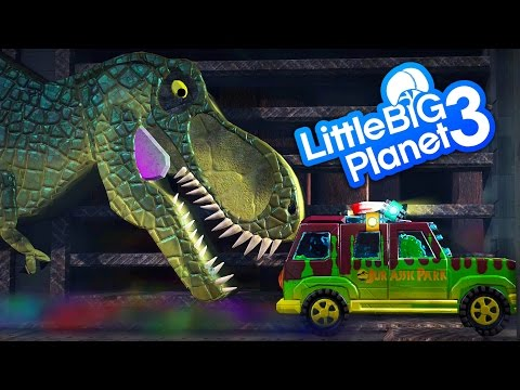 LittleBigPlanet 3 - Jurassic Park - GIANT T-Rex Dinosaur Chases Car With Other Dinosaurs