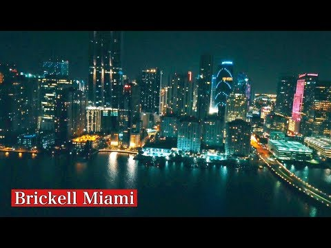Brickell Downtown Miami at Night  by Drone