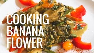Экзотическое блюдо - жареные цветки банана || Королевская тайская кухня от повара Мони