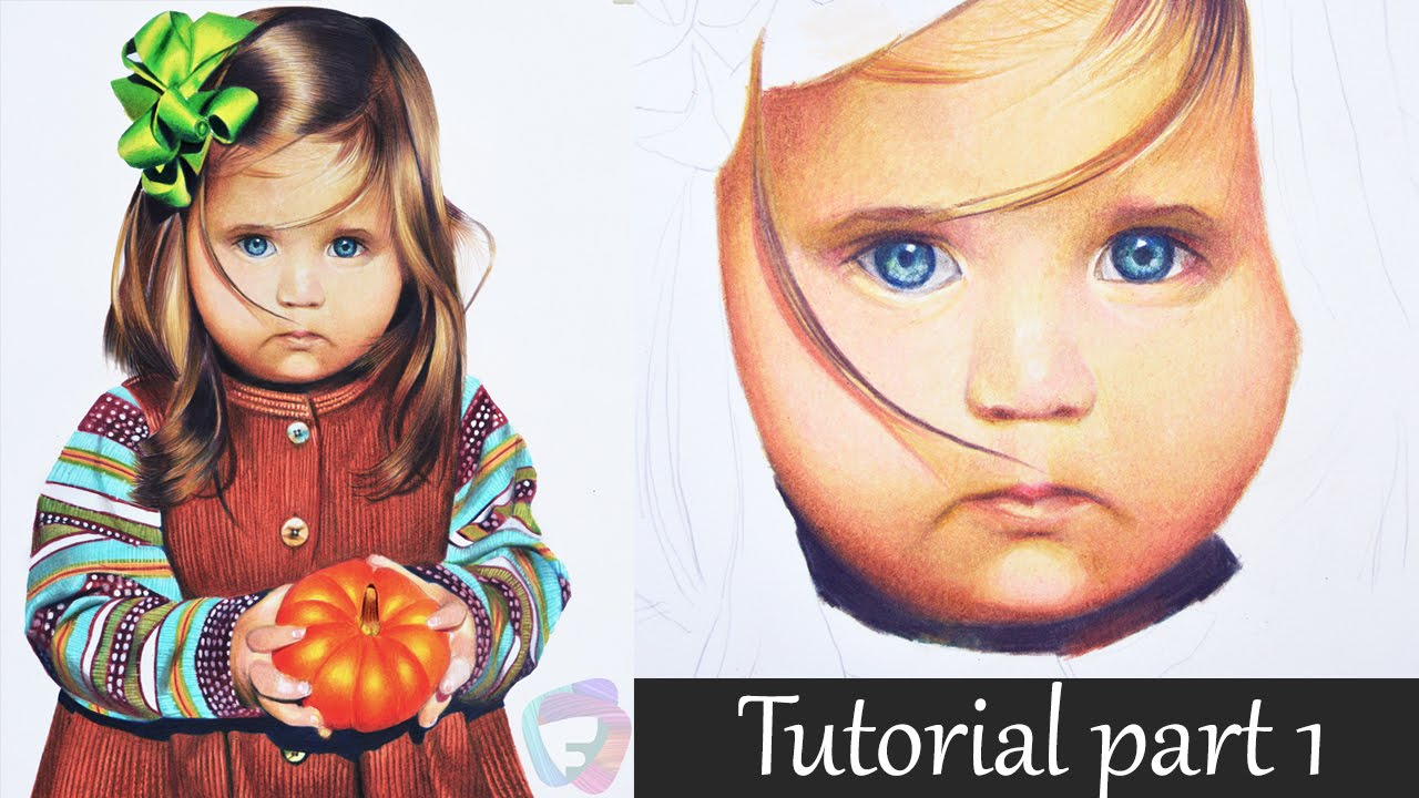 colored pencil tutorial part i eye and skin child portrait