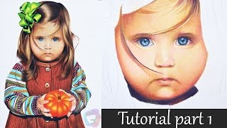 Colored pencil tutorial part I - Eye and skin - child portrait.