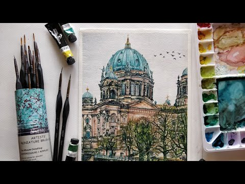 Brustro Artist's Miniature brush set of 12 review | Berlin Cityscape | watercolor painting