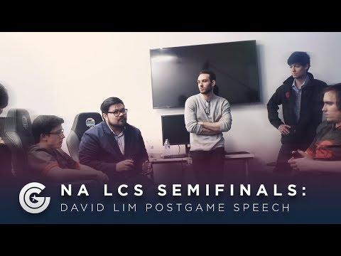 David Lim Postgame Speech After NA LCS Semifinals