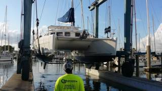Lagoon 380 S2 catamaran being hauled out for survey