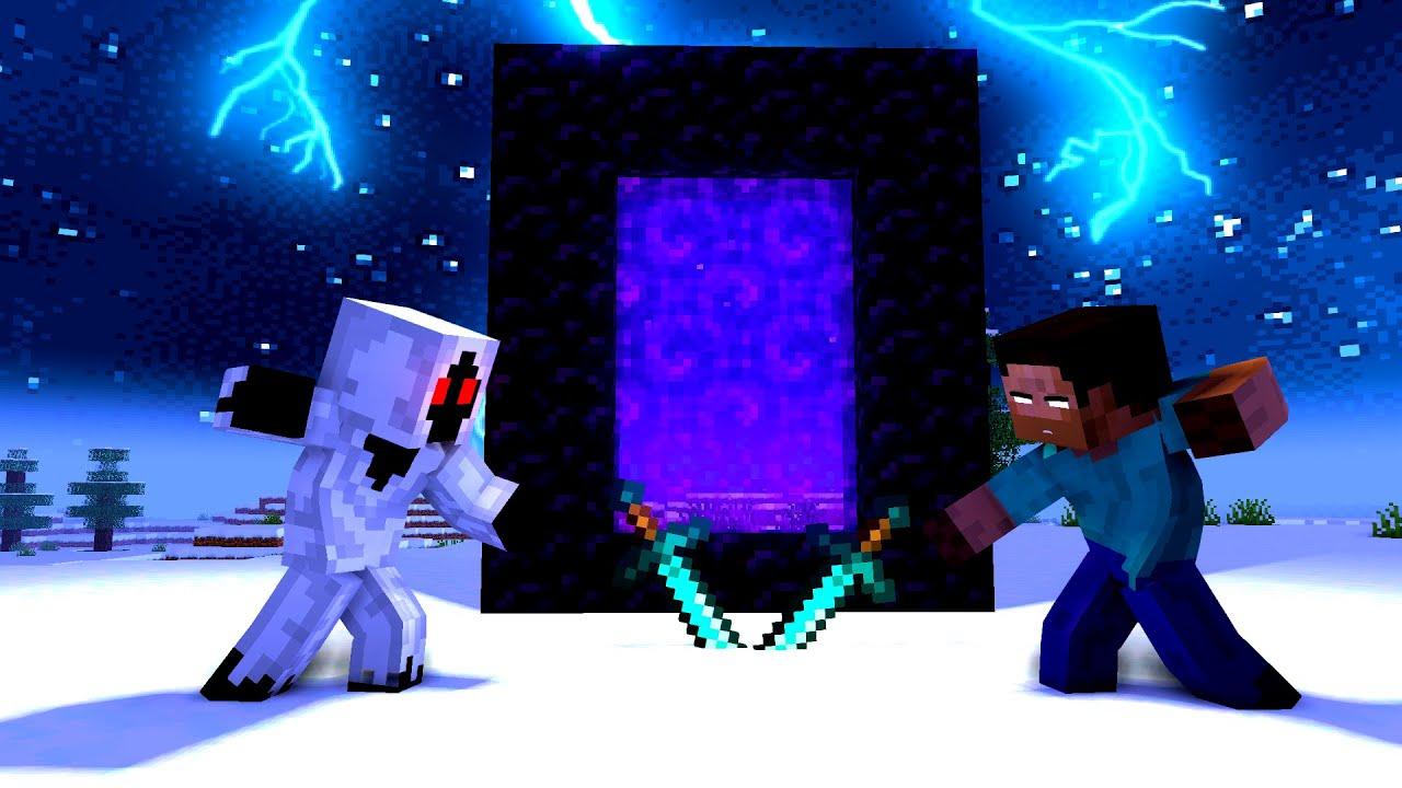 Minecraft Fight Animation - Herobrine, Steve VS Entity 303