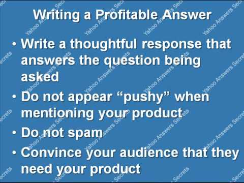 Yahoo answers: Writing a profitable answer