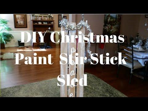 DIY Christmas Paint Stir Stick Sled