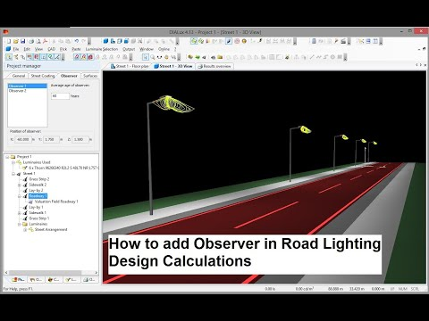 How to add observer on the road lighting design calculation