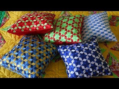 Плетение из лент для декоративной подушки