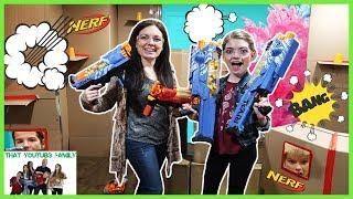 Boys vs Girls Nerf Box Fort Battle / That YouTub3 Family