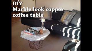 Diy Coffee Table: Herringbone Marble Top + Copper Base