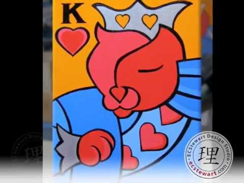 Lisa Paints King O'Hearts - Contemporary PopArt King Cat