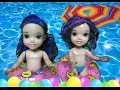 Mal and Evie toddlers swim in the pool  Maleficent are Mermaids Descendants TV Toys In Action
