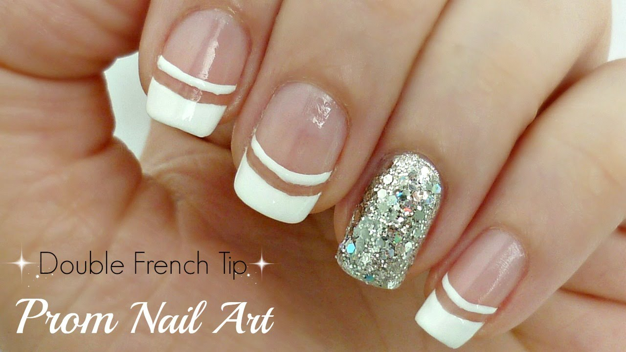 Double French Tip Prom Nail Art Very Easy Youtube