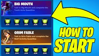 How to START the new PUNCHCARDS CHALLENGES (Big Mouth and Grim Fable) in Fortnite