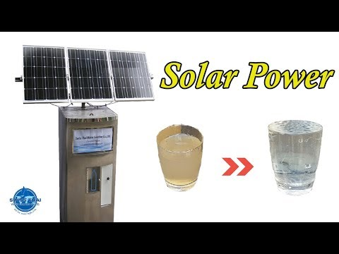 Water Treatment by Solar Power System, From muddy water to clear water.