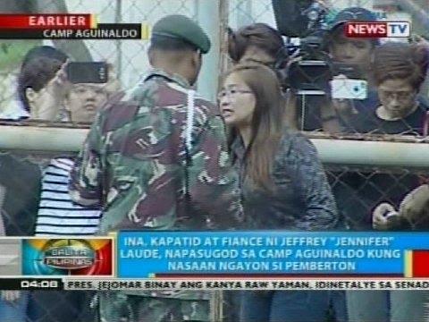 Ina, kapatid at fiance ni Jeffrey Laude, napasugod sa Camp Aguinaldo kung nasaan ngayon si Pemberton