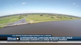 La situación del dique Roggero y del lago San Francisco durante la tarde de este viernes