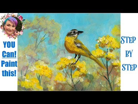 Yellow Bird In Flowers Step By Step  Painting In Acrylic Live Streaming