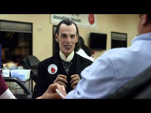 Happier than Dracula Volunteering at a Blood Drive - Car Insurance