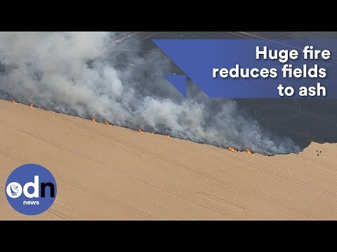 Huge fire reduces fields to ash in Nottinghamshire