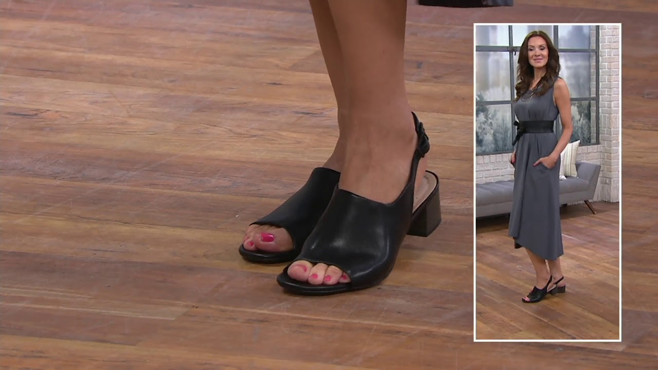 59b795d043c Clarks Leather Slingback Heeled Sandals- Elisa Kristie on QVC - YouTube