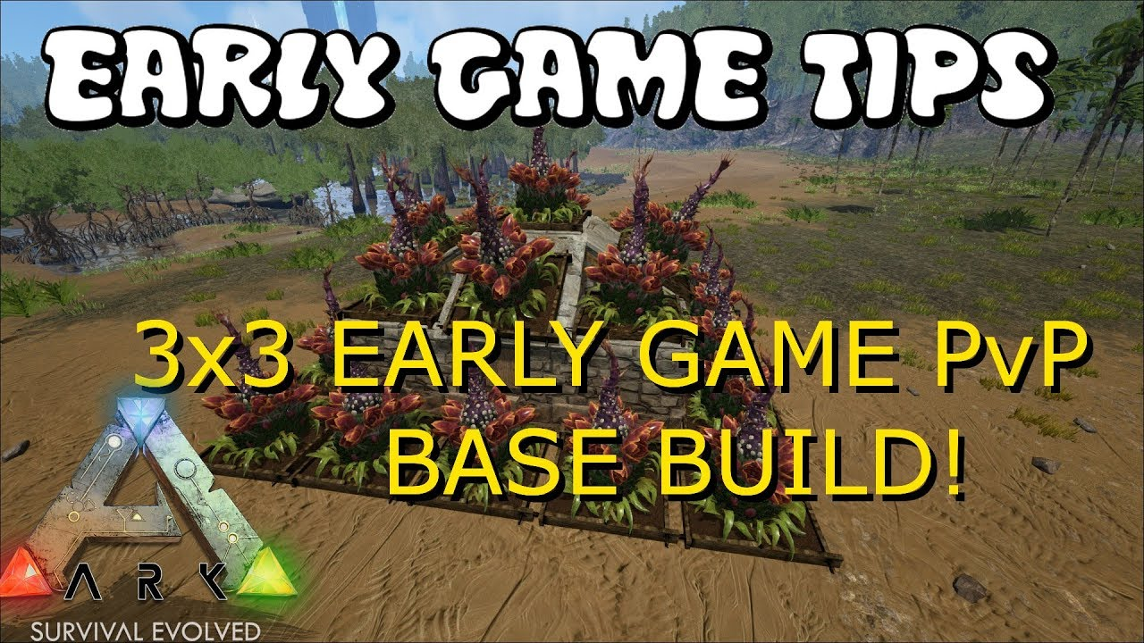 NEW PLAYER/EARLY GAME 3x3 BASE BUILD! & Early Game PvP Tips - Ark: Survival  Evolved Base Build