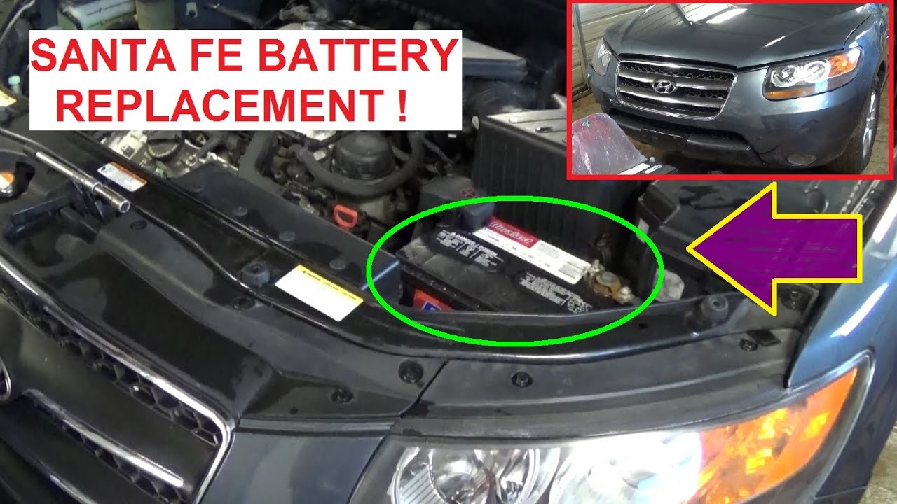 Battery Replacement On Hyundai Santa Fe 2006 2007 2008 2009 2010 2011 2012 Dead Battery Youtube