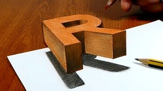 Try to do 3D Trick Art on Paper, floating letter R