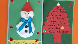 Easy Christmas cards to make at home l DIY very easy snowman card