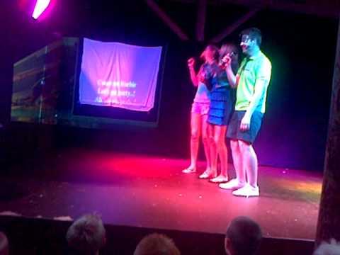 Reece singing karaoke, Paradise Island, Lanzarote
